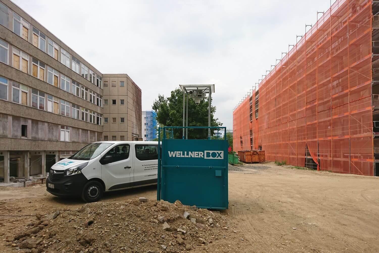 WellnerBOX auf dem zukünftigen Pausenhof des neuen Leipziger Schulzentrums