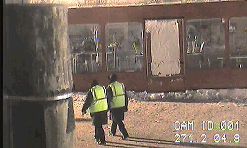The Security Guards Patrolled The Area Regularly.