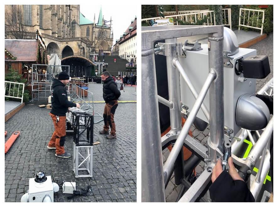 Dank existenter Stromverbindung kann der Wellner-Videokopf fest an einem Gittermast montiert werden.